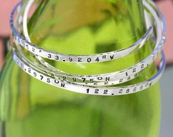 Custom Coordinate Bracelet. GPS Location. Personalize Coordinate Bracelet. Longitude Latitude. Sterling Silver Bar Cuff Bracelet Coordinate.