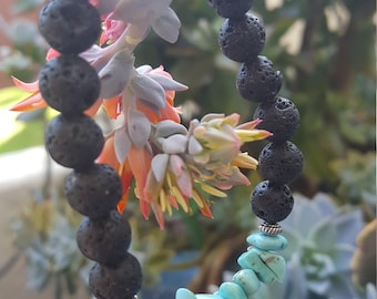 Essential oil diffuser lava bead bracelet with your choice of gemstone chip center