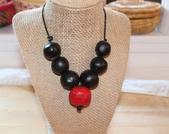 Black red necklace, Eco Friendly handmade clay beads