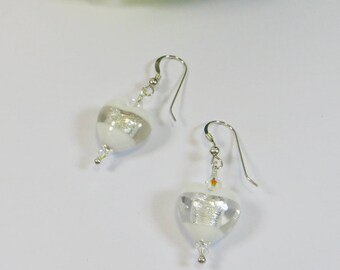 Murano White Silverfoil Windows Heart Earrings, Murano Venetian White Silverfoil Heart Earrings with 925 Sterling Silver & Swarovski