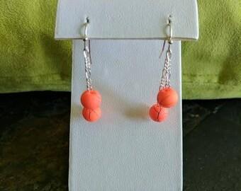 neon orange dangle earrings
