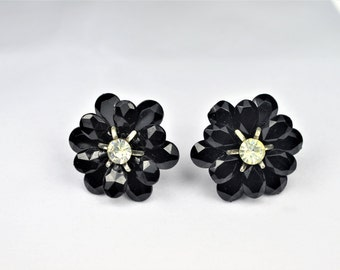 Black Flower Earrings -  Screwback Black Flowers with Rhinestone Center   -   E2448a-122416000