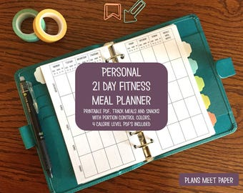 PRINTABLE Personal 21 Day Fitness Portion Control Meal Planner