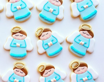 Blue favor/Baptism favors/christening cookies // baptism gifts // baptism // christening favors // christening/angel/ angel cookies/baby boy