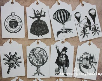 Set 12 large tags labels VINTAGE STEAMPUNK HALLOWEEN gift wrap