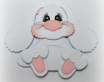 premade paper piecing bunny pink or white scrapbooking embellishment 3d die cut by My tear bears by Kira