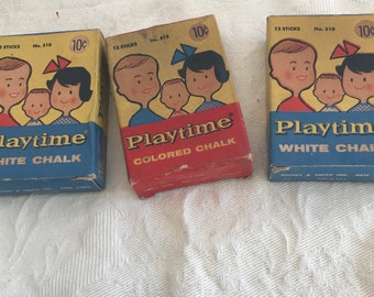 Lot of Vintage Playtime Colored Chalk