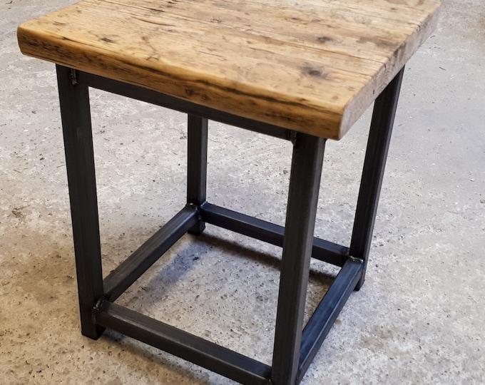 Reclaimed Rustic Scaffold Board & Steel Industrial Look Stool \ Side Table \ Night Stand \ Bar Stool