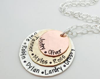 Mother In Law Gift - Mother's Day gift for Grandma - Custom Name - grandma gift -  hand stamped necklace - personalized necklace - Mom Gift