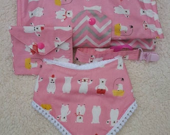 Set handbag bag Diapers x pacifier, pacifier Holder and Bavalino/baby set