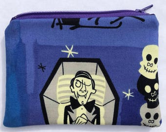 Vampire and Ghosts Zipper Pouch: Skulls, Halloween.