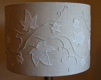 Pulled Thread Whitework Hand Embroidered Lampshade