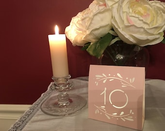 Blush or Gray Table Numbers • Rustic Branch Luminaries • Rustic Table Numbers • Free Standing Table Luminaries