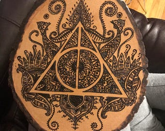 Deathly Hallows Wood Burned Art