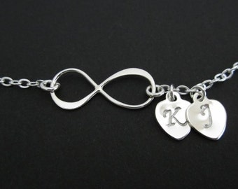 Infinity Bracelet. Personalized Sterling Silver Bracelet.Infinity Love.His and Hers Initial. Two Silver Initial Hearts. Heart Charm Bracelet