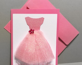 Ballerina Birthday Card - Pink Happy Birthday Card - Pink Tutu Birthday Card - Pink Ballerina - Pink Tulle Card