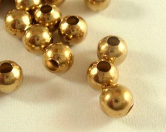 100 Unplated Spacer Beads 4mm Round Raw Brass 1.6mm hole - 100 pc - M7058-UN100