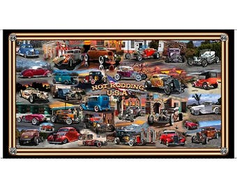 Hot Rod USA Panel by Quilting Treasures