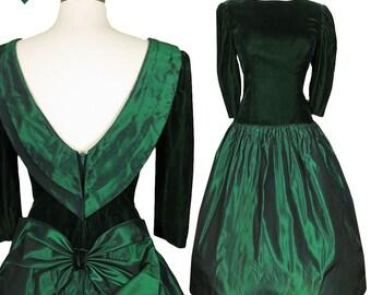 Vintage 80s Prom Dress / 80s Party Dress / Green Prom Dress  / M Medium Velvet Taffeta Full Skirt Dance Big Bow Puff Sleeves Gown Cocktail