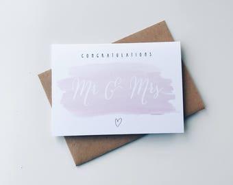 Wedding card - Mr and Mrs card - marriage card - Celebration card - Wedding day card