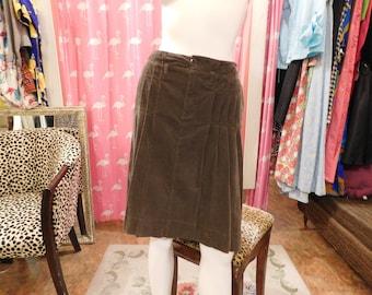 Beautiful BurBerry Skirt/ Corduroy  deep gray brown/Designer/  hipster/