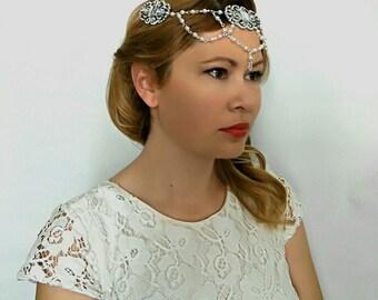 1920s Bridal Headpiece, Bridal Head Chain, 1920s Headpiece, Art Deco Headpiece, Head Chain Jewelry, Great Gatsby Headpiece, Boho Headpiece