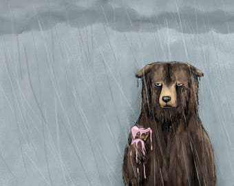 Bear in Rain Art Illustration Print