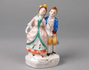 Miniature Vintage Japan Porcelain Colonial Couple Occupied Japan