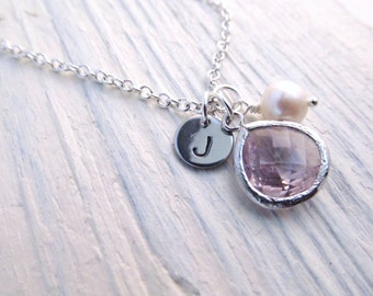 June Birthstone Necklace, Alexandrite Necklace, Initial Disc with Jewel Pearl, Engraved Jewelry, Personalized Necklace, June Birthday Gift