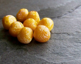 Vintage Bead-Vintage Glass Bead-Vintage Rare West German Textured Free Formed Glass Nugget Bead-Yellow AB-9mm-8 Beads