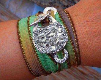 Silk Wrap Bracelet, Bracelet, Silver Wrap Bracelet, Silver Silk Wrap Bracelet, Sterling Silver SILK WRAP BRACELET, Silk Ribbon Wrap Bracelet