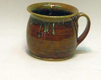 Stoneware Soup Mug / Brown Green / Soup Bowl , Pottery Bowl , Pottery Mug , Ceramic Mug , Ceramic Bowl , Handmade Bowls , Chili Bowl , Soups