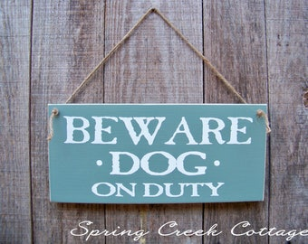 Wood Signs, Beware Dog On Duty, Home Decor, Porch Decor, Rustic, Wood Sign, Handpainted, Beware Of Dog, Pets, Dogs