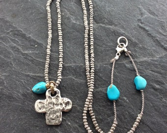 Sterling silver cross necklace - silk necklace, cross pendant necklace, silver and turquoise, layering necklace, everyday necklace, Gift
