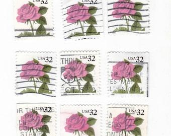 15 Pink Roses stamps, USA postage stamps - Vintage used Stamps, floral