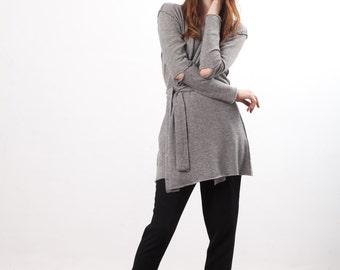Long cashmere cardigan sweater | Grey cashmere cardigan | Kaschmir Strickjacke | Women's cashmere cardigan | Long cardigan | VANESSA Grey