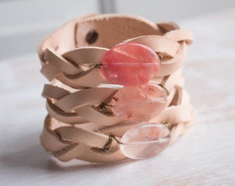 Leather Braided Bracelet, Cuff Bracelet, Gemstone bracelet, Bohemian Jewelry