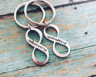 Custom Handstamped Keychain Set, Always and Forever, Stamped Infinity Keychains, Couples Matching Keychain Set, Infinity Symbol, Valentines