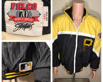 Pittsburgh Pirates vintage windbreaker // Felco dugout series // rare retro // mlb baseball // pirates patches // adult size large
