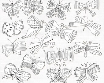 Butterflies ClipArt, Butterfly PNG Line Drawing, Whimsical Doodle Spring Graphics, Hand-Drawn Illustration, DIY Coloring, Instant Download