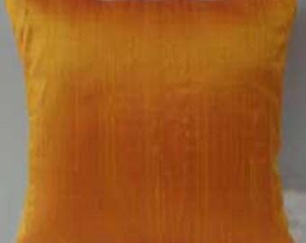 Tangerine orange dupioni silk  throw pillow.  orenge  cushion cover. row silk  decorative pillow cover. 18  inches. custom  made