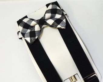 Black Cross Check Bow tie And Black Suspender Set !! for toddler/ boy/ baby/Teen/Adult/Men