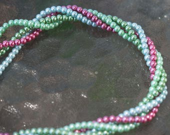 Round Glass Pearls 2-3mm 16 Inch Strand (1)Blue, Light Green, Green or Pink