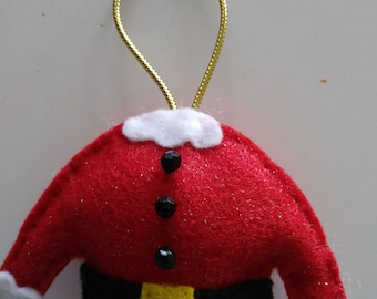 "Handmade Felt Santa Suit/Ugly Sweater Ornament 3""hx3 1/2'w"
