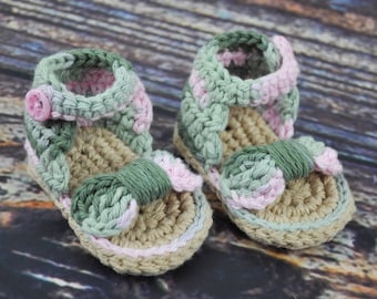 Pink Camouflage Baby Sandals - Bow