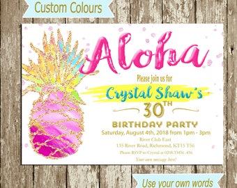 Pineapple Birthday invitation Printable Aloha Invitation Pineapple Invitation Invite Tropical party invitation Hawaiian Invitation LUAU