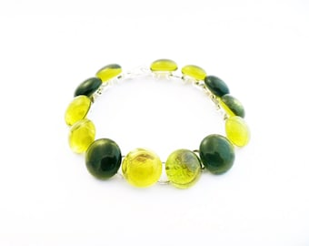 Recycled wine bottle bracelet in olive and yellow upcycled glass/Eco friendly olive and yellow repurposed glass bracelet on silver