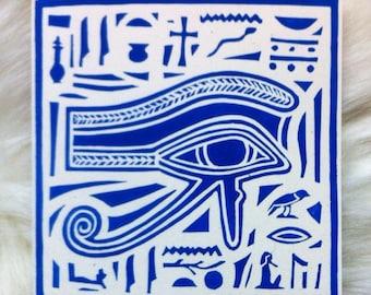 Eye of Horus Linocut Hand Printed on Recycled Card