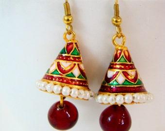 Earrings Dangle handmade Conical-Jhumki Meenakari Work-Enamel Earring-Indian Earring-Indian Handicraft-Rajasthani Jewelry Art of West India