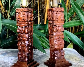 Mid Century Table Lamps, Maya Art Wood Carving, Jungalow Lighting